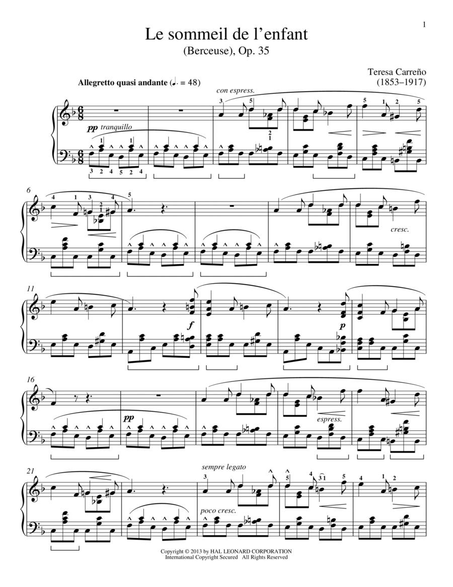 Le sommeil de l'enfant (Berceuse), Op. 35