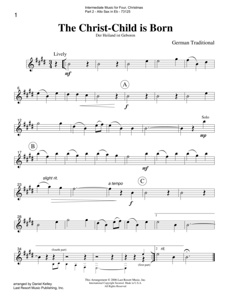 Intermediate Music for Four, Christmas - Part 2 for Alto Saxophone