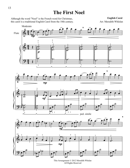 Christmas Duets for Flute & Piano:  The First Noel