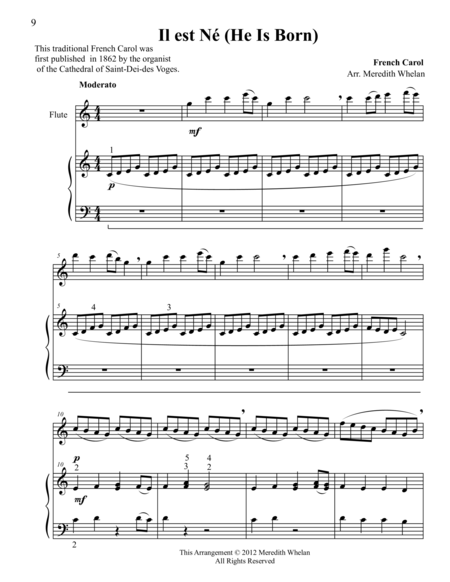 Christmas Duets for Flute & Piano:  Il est Ne