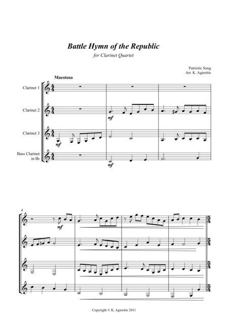 Battle Hymn of the Republic - a Jazz Arrangement - for Clarinet Quartet