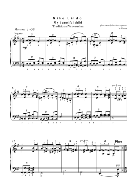 Five Latin melodies for Classical Piano plus mp3