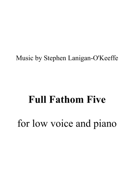 Full Fathom Five - piano/vocal