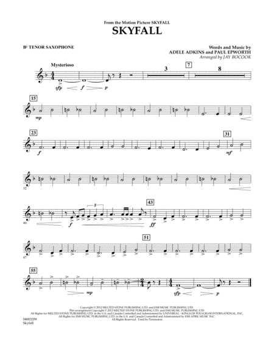 Skyfall - Bb Tenor Saxophone
