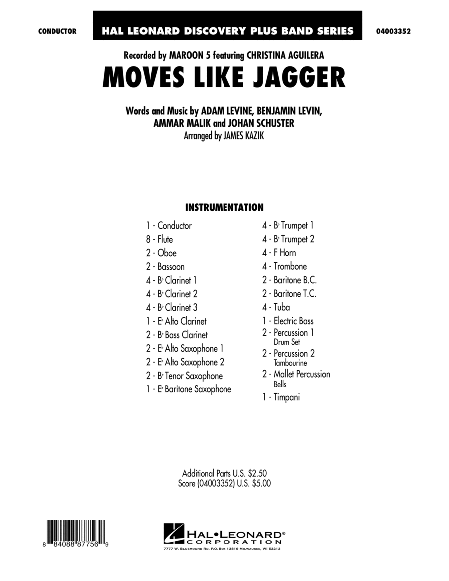 Moves Like Jagger - Conductor Score (Full Score)