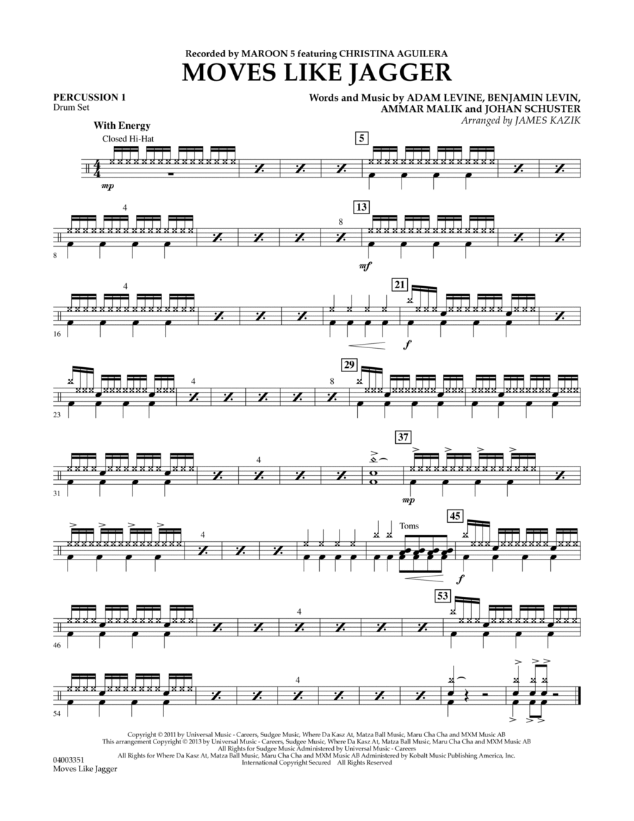 Moves Like Jagger - Percussion 1