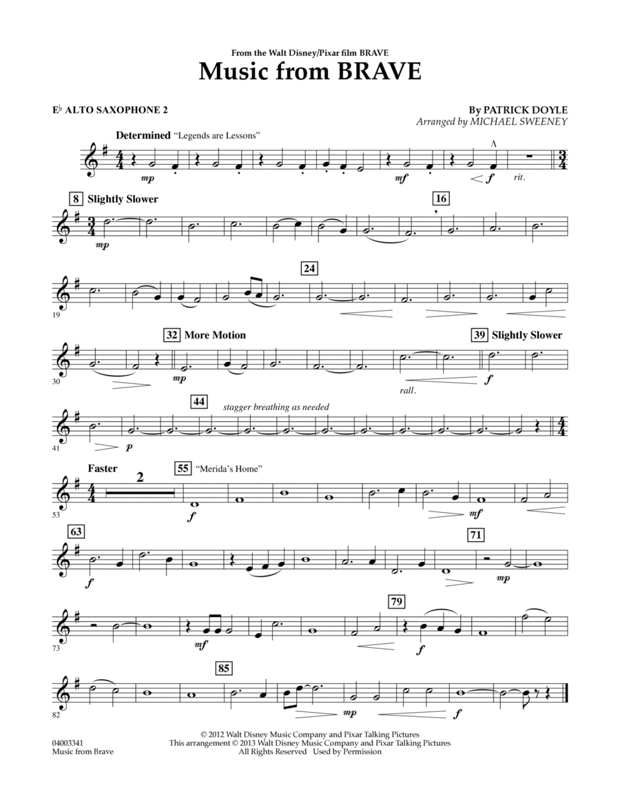 Music From Brave - Eb Alto Saxophone 2