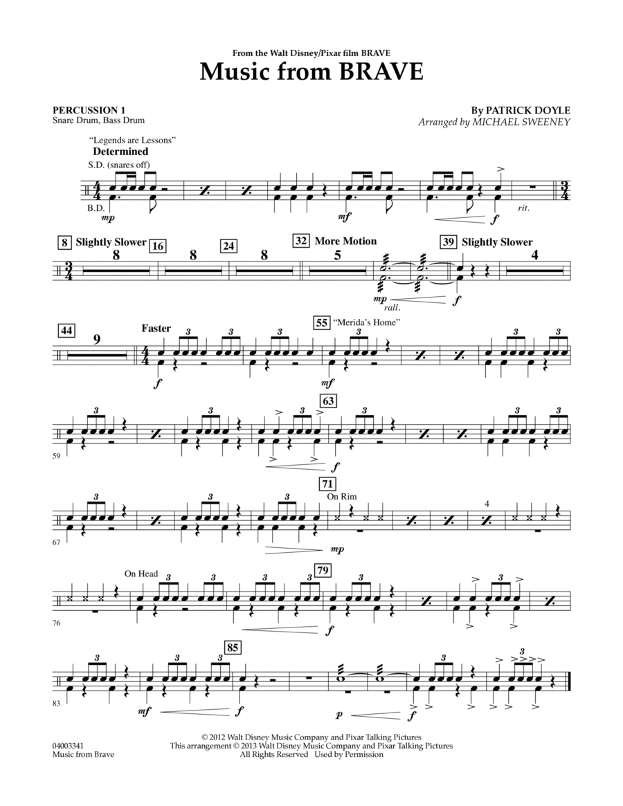 Music From Brave - Percussion 1