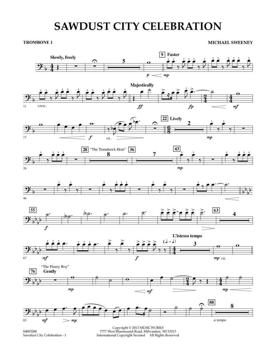 Sawdust City Celebration - Trombone 1