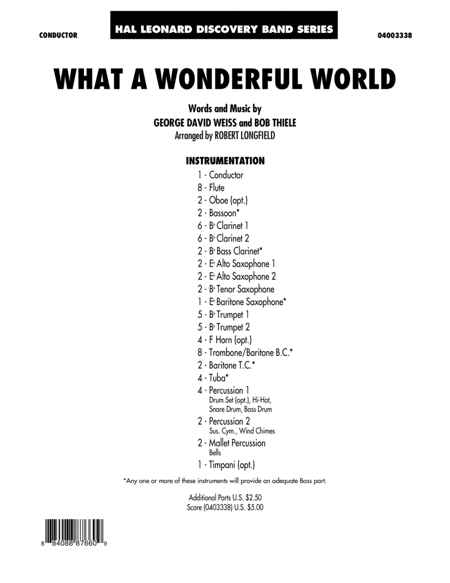 What A Wonderful World - Full Score