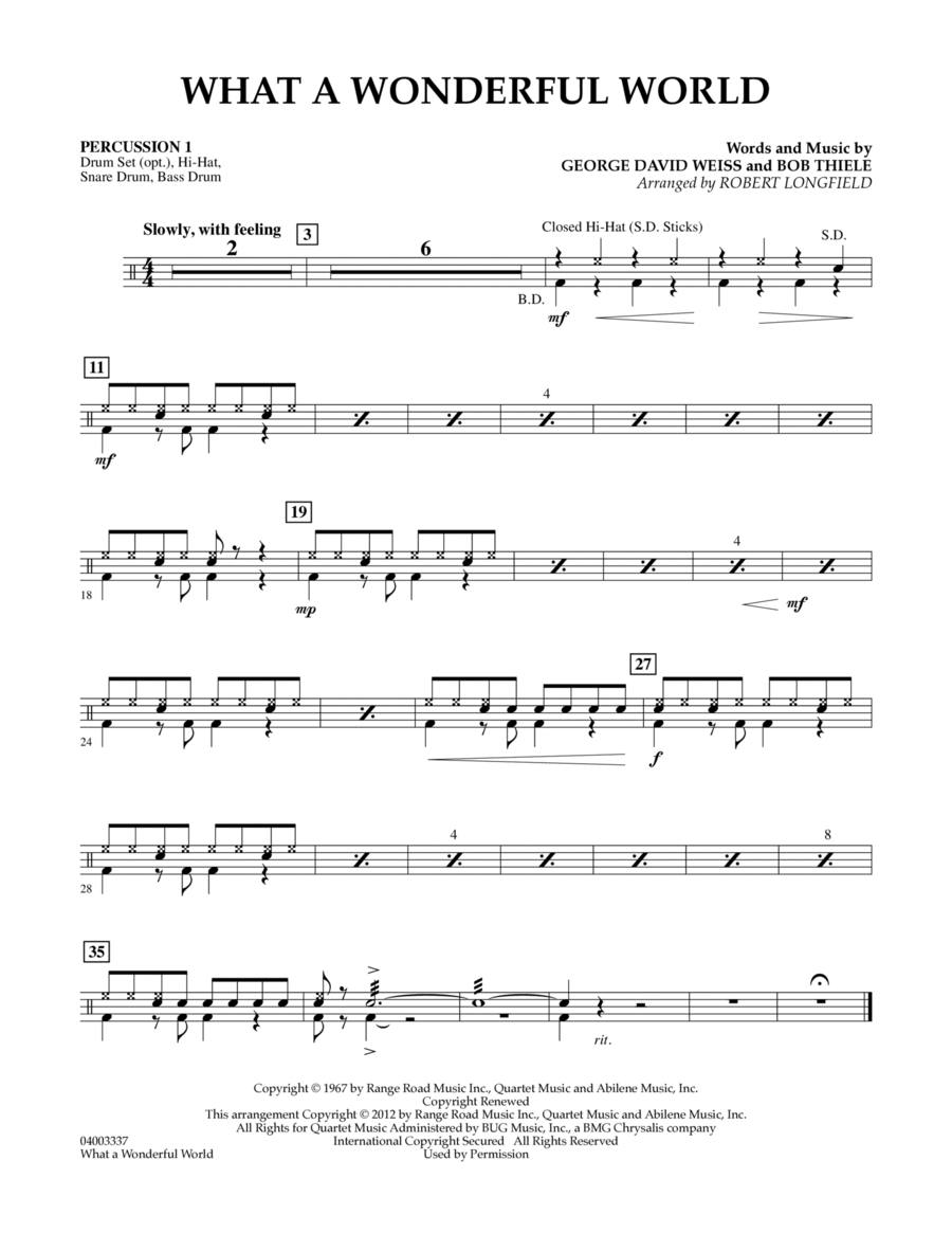What A Wonderful World - Percussion 1