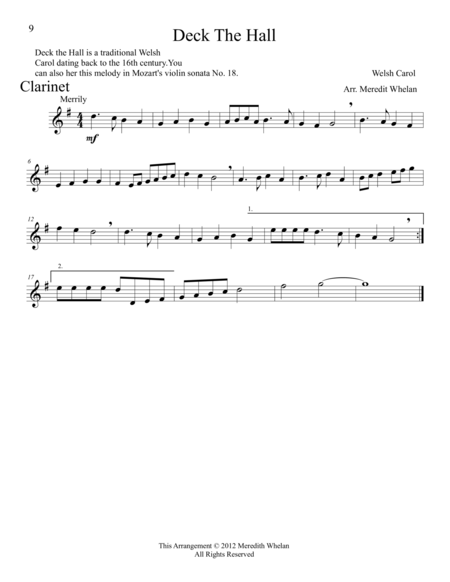 Christmas Duets for Clarinet & Piano:  11 Traditional Carols
