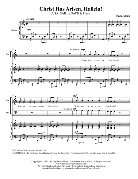 Christ Has Arisen, Hallelu! (U/2, SAB, or SATB Choir and Piano)