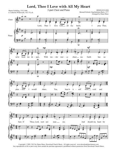 Lord, Thee I Love With All My Heart (SA Choir and Piano)