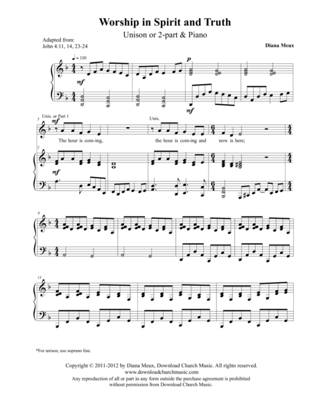 Worship in Spirit and Truth (Unison/2-part choir and Piano)