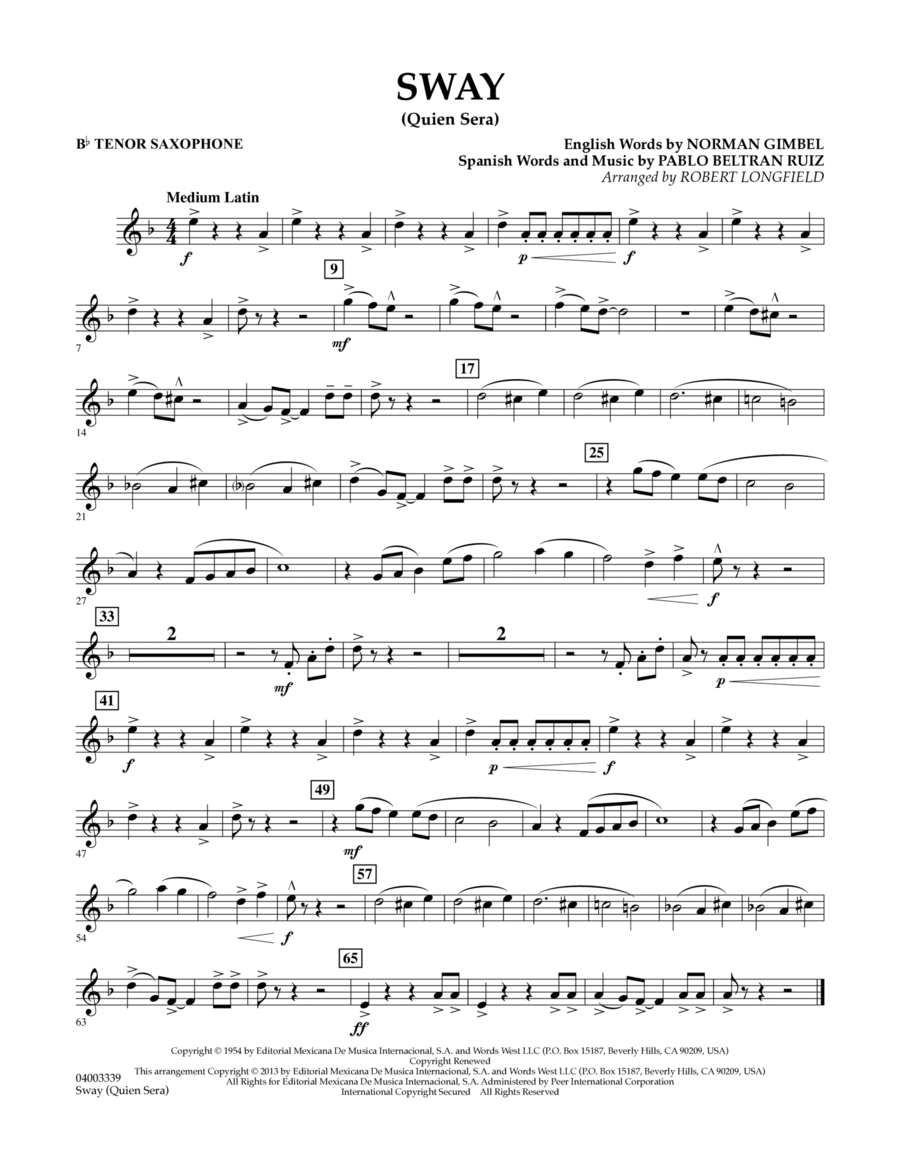 Sway (quien Sera) Dl - Bb Tenor Saxophone