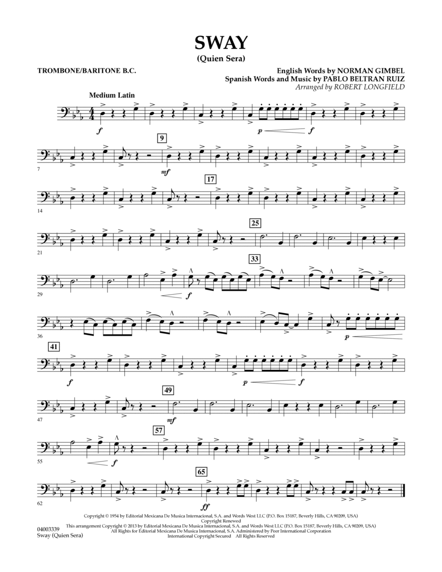 Sway (quien Sera) Dl - Trombone/Baritone B.C.