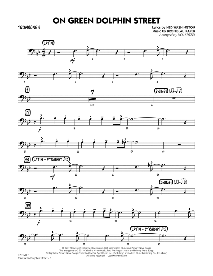 On Green Dolphin Street - Trombone 2