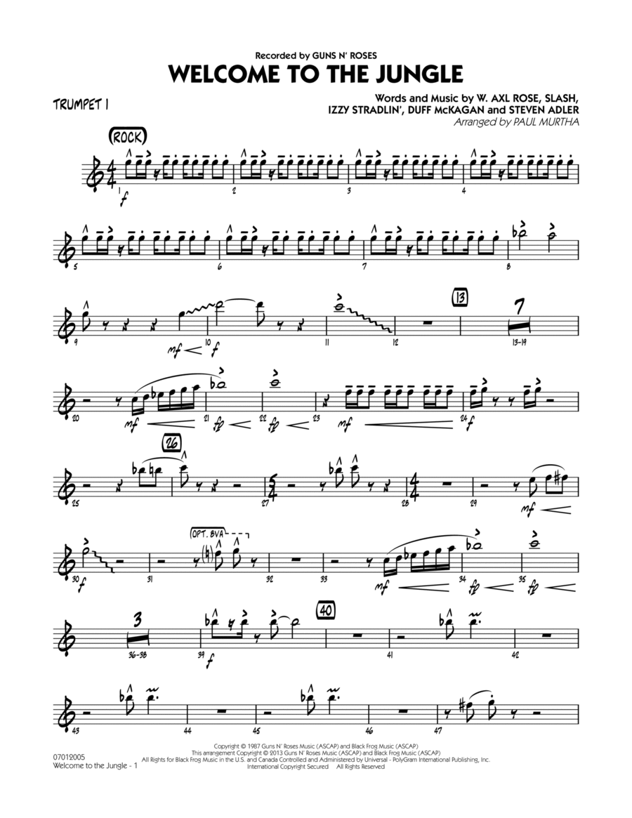 Welcome to the Jungle - Trumpet 1