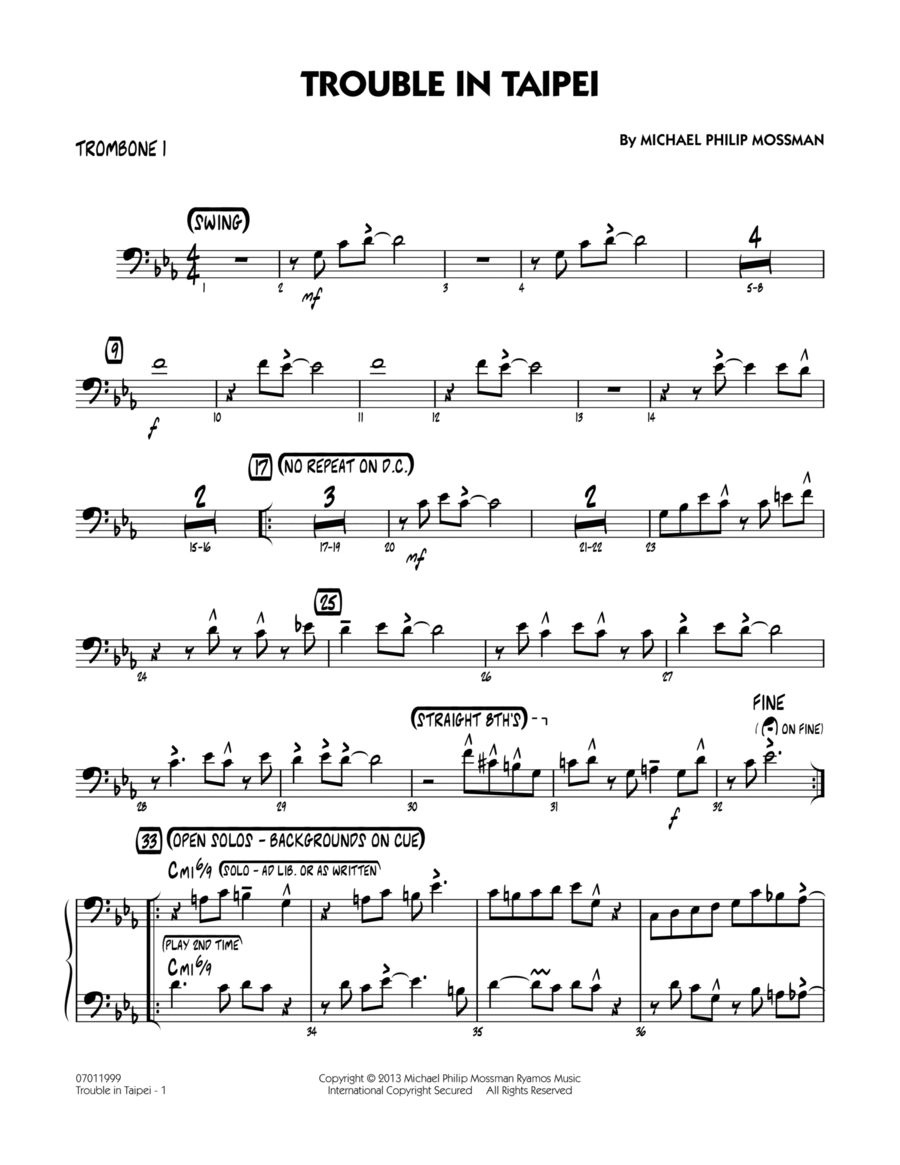 Trouble In Taipei - Trombone 1