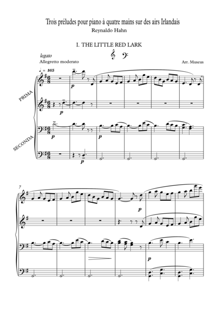 R.Hahn Preludes for Piano Duet