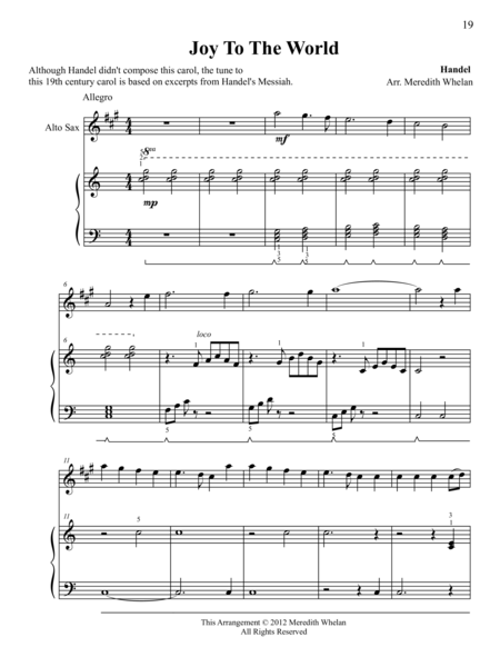 Christmas Duets for Alto Saxophone & Piano:  Joy To The World