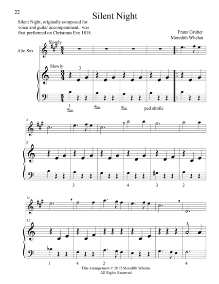 Christmas Duets for Alto Saxophone & Piano:  Silent Night