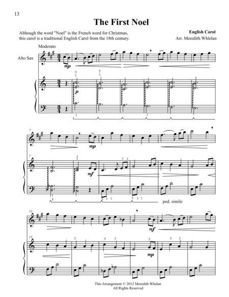 Christmas Duets for Alto Saxophone & Piano:  The First Noel