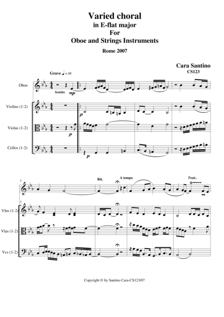 Varied Choral in E-flat major for oboe and strings_CS123