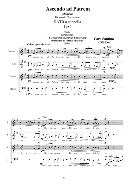 Ascendo ad Patrem - Motet for Choir SATB a cappella