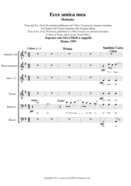 Ecce,amica mea - Motet for Soprano solo and Chorus MAATBrB a cappella
