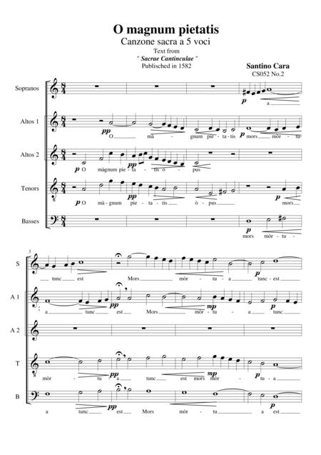 O magnum pietatis - For Choir SAATB a cappella