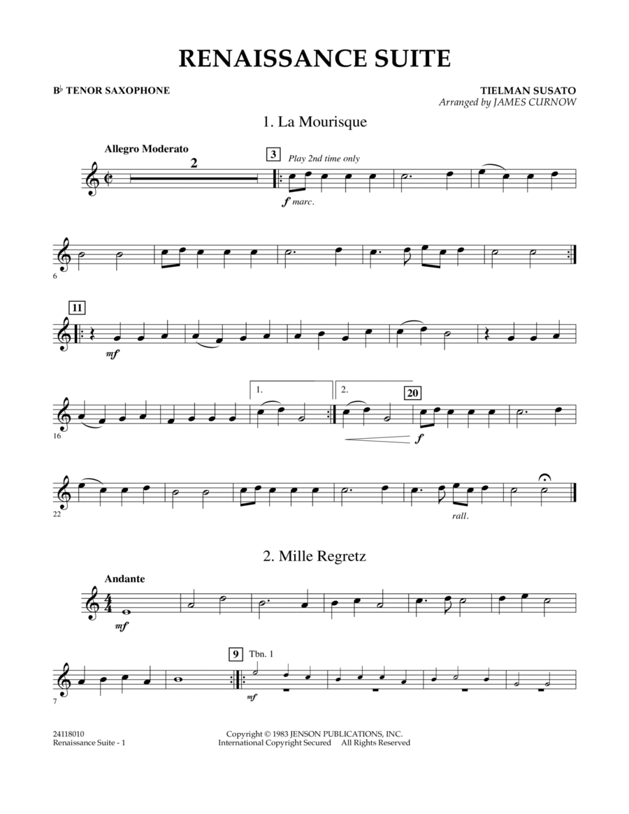 Renaissance Suite - Bb Tenor Saxophone