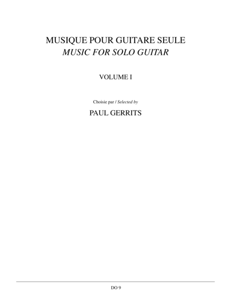 Musique pour guitare seule, Vol. 1