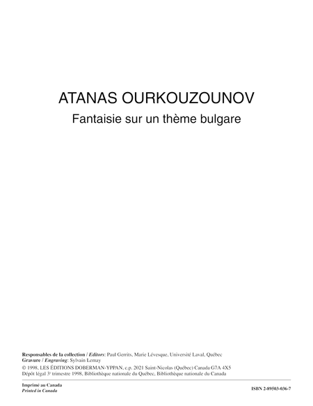 Fantaisie sur un theme bulgare