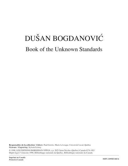 Book of the Unknown Standards