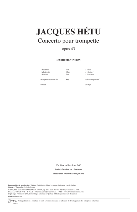 Concerto for trumpet op. 43 (score)