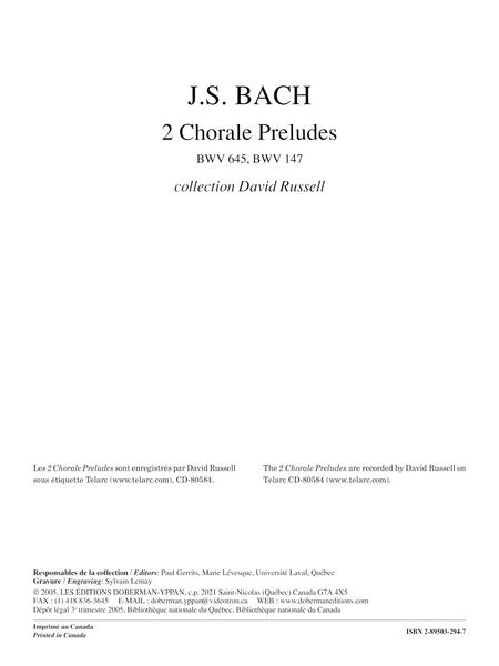 2 Chorale Preludes BWV 645, BWV 147