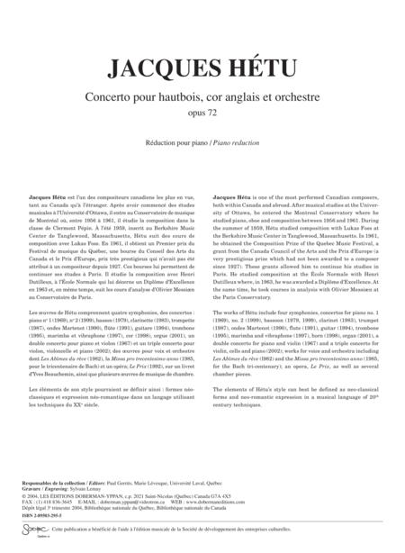 Concerto pour hautbois, cor anglais et orchestre op 72 (piano reduction)