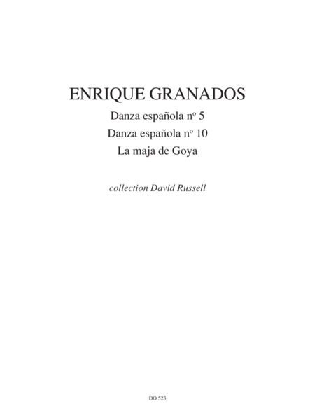 Danza Espanola nos 5 & 10, La maja de Goya