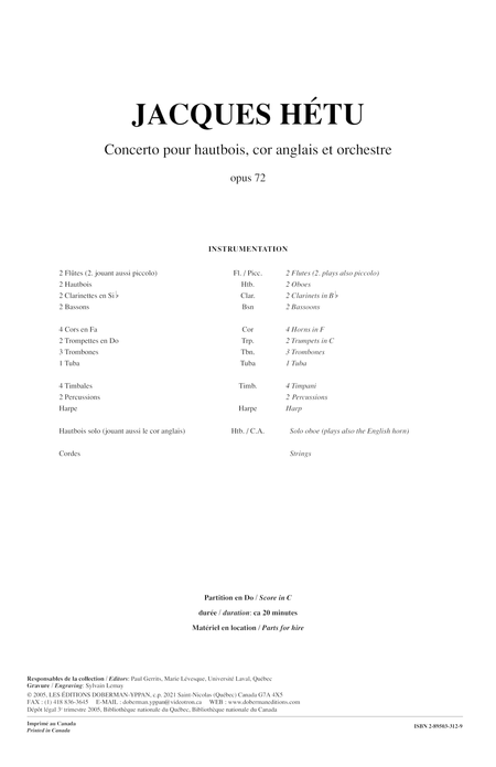 Concerto pour hautbois, cor anglais et orchestre op. 72 (score)