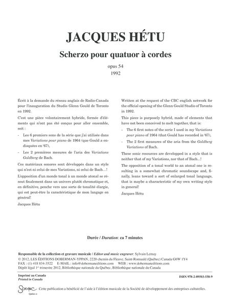 Scherzo pour quatuor a cordes, opus 54