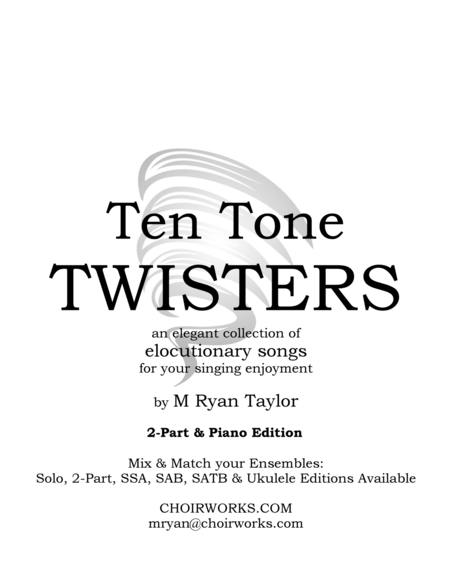 Ten Tone Twisters for 2-Part Choir & Piano