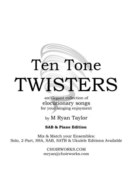Ten Tone Twisters for SAB Choir & Piano