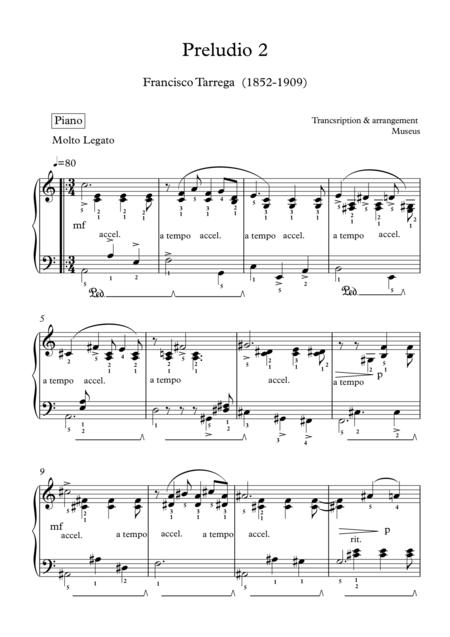Museus : Preludio two for Piano by F.Tarrega