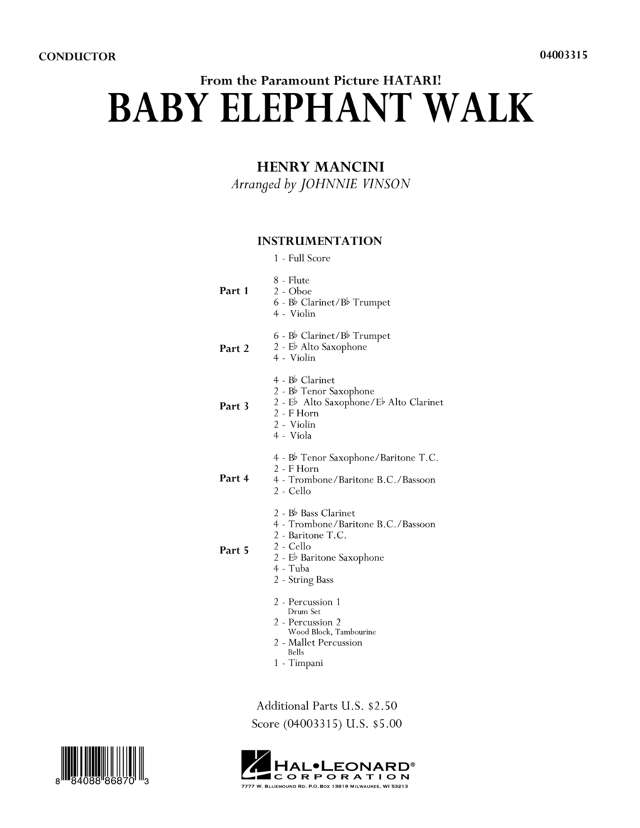 Baby Elephant Walk - Full Score