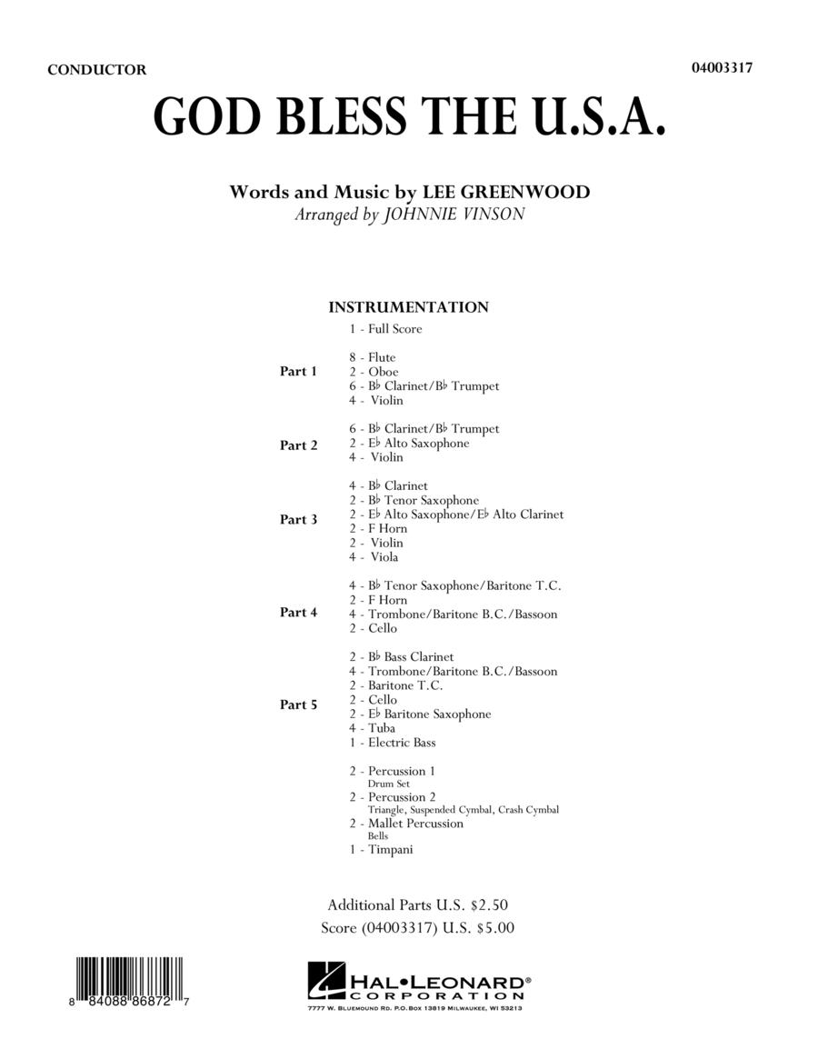God Bless The U.S.A. - Conductor Score (Full Score)