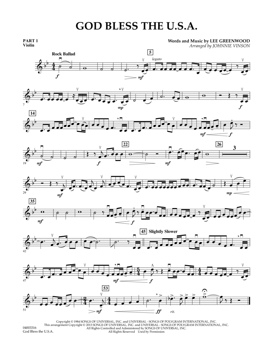 God Bless The U.S.A. - Pt.1 - Violin