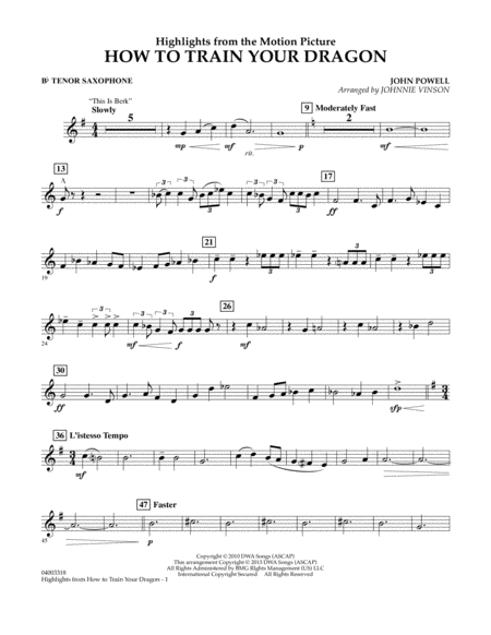 Highlights from How To Train Your Dragon - Bb Tenor Saxophone