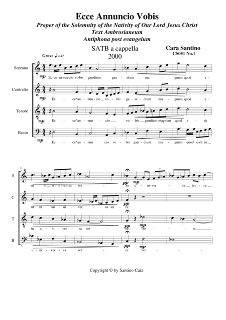 Ecce Annuncio Vobis - Choir SATB a cappella